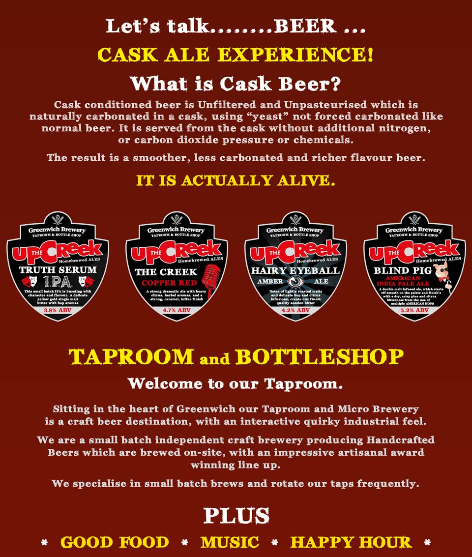 Cask Ale Experience.  Taproom and bottleshop.